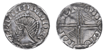 Hiberno-Norse penny, Phase III, Class E (Symbol above Head), Type 7 - Long Cross, with two hands. Echmarcach Mac Ragnaill. The Old Currency Exchange, Dublin, Ireland.
