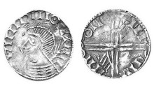 Hiberno-Norse Phase III, Class D - Bust with Hand behind Head, Type 1 - Long Cross with two hands. Echmarcach mac Ragnaill. The Old Currency Exchange, Dublin, Ireland.
