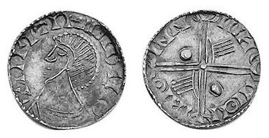 Hiberno-Norse Phase III, Class A, Plain bust, Type 3d - Long Cross with two hands + two large pellets. Echmarcach mac Ragnaill. The Old Currency Exchange, Dublin, Ireland.