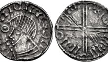 Hiberno-Norse Phase III, Class E (Plain bust, symbol before face), Type 1a (Pellet within Annulet) Echmarcach mac Ragnaill. The Old Currency Exchange, Dublin, Ireland.