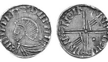 Hiberno-Norse Phase III, Class E, Plain bust, Type 3b - Pellet behind Head. Long Cross with two hands + one pellet. The Old Currency Exchange, Dublin, Ireland.
