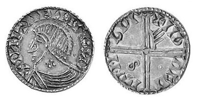 Hiberno-Norse Phase III, Class E, Plain bust, Type 2b - Quatrefoil on Neck, Long Cross with one hand, one pellet and S. The Old Currency Exchange, Dublin, Ireland.