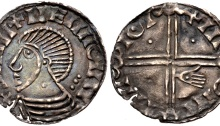 Hiberno-Norse Phase III, Class E, Plain bust, symbol on Neck (one pellet), Type 5a - three pellets behind head, Long Cross, 3 pellets + 1 stigmata hand. The Old Currency Exchange, Dublin, Ireland.