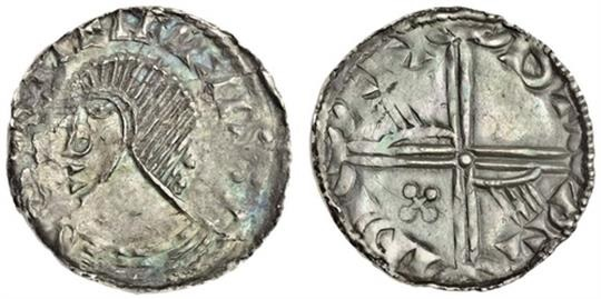 Hiberno-Norse Silver Penny, Phase III, Class A (Plain Head), Type 1h (Long cross, hand in two angles, cross pommée in one angle). The Old Currency Exchange, Dublin, Ireland.