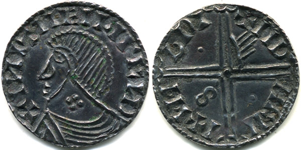 Hiberno-Norse silver penny, Phase III, Class E – Bust with Symbol(s), Type 1b - Quatrefoil on Neck, Long Cross with one hand, two pellets and S. The Old Currency Exchange, Dublin, Ireland.