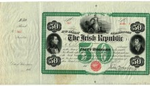Irish Republic $50 Bond Certificate, featuring vignettes of Theobald Wolfe Tone and Lord Edward Fitzgerald. Unissued 186__. The Old Currency Exchange, Dublin, Ireland.