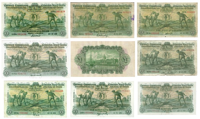 One Pound Ploughman Notes - Set of 8 Consolidated Banks + Reverse Design (in centre). The Old Currency Exchange, Dublin, Ireland.