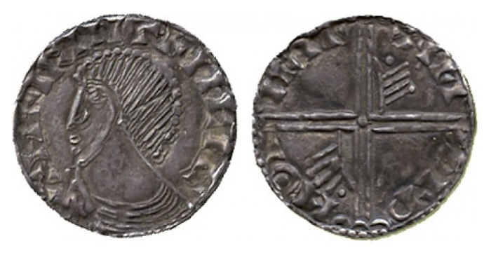 Hiberno-Norse Silver Penny, Phase III, Class A (Plain bust), Type 1b (Long Cross with two hands/pellets for thumbs). Echmarcach Mac Ragnaill. The Old Currency Exchange, Dublin, Ireland