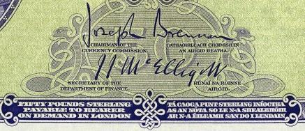 Signatures of Joseph Brennan & J.J. McElligott