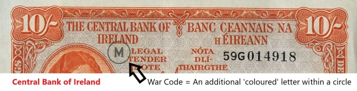 Central Bank of Ireland - War Codes. The Old Currency Exchange, Dublin, Ireland.