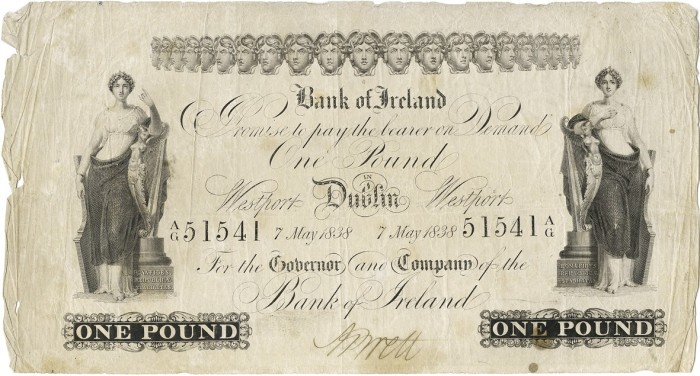 Bank of Ireland One Pound, Eighth Issue, Type 2, dated 7 May 1838, Dublin and Westport, SN: A/G 51541, signature of A. Brett. The Old Currency Exchange, Dublin, Ireland.