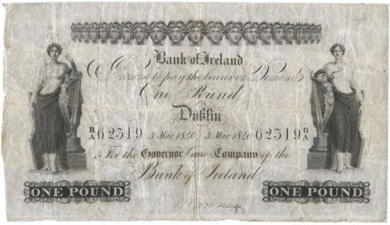 1840 Bank of Ireland One Pound, Type 3, issued on 3 March 1840, S/N: B/A 62319, Dublin only. The Old Currency Exchange, Dublin, Ireland.