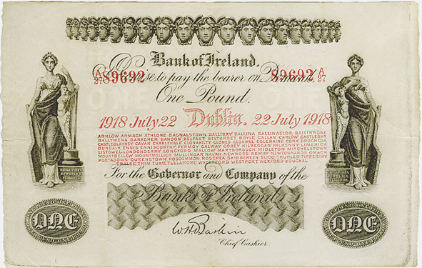 A Bank of Ireland, Fourteenth Issue, One Pound note, Type 1, dated 22nd July 1918, signature of W.H. Baskin. The Old Currency Exchange, Dublin, Ireland.