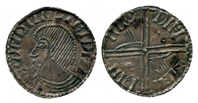 An Hiberno-Norse silver penny, Phase III, Class A (Plain bust), Type 1f (two hands + one large pellet + one small pellet on reverse). The Old Currency Exchange, Dublin, Ireland.