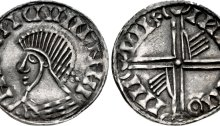 An Hiberno-Norse silver penny, Phase III, Class E (Bust with Symbols), Type 3d (Three Pellets behind Head). Long Cross with two hands on reverse. The Old Currency Exchange, Dublin, Ireland.
