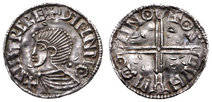 Hiberno-Norse Penny, Phase I, Class B (Sihtric Anlafsson), 1.51g, Obv. + SIHTRC REX DУFLNMΘ, draped bust left; pellet behind. Rev. ΘS GVN MΩΘ LINΘ (Osgun of Lincoln). The Old Currency Exchange, Dublin, Ireland.