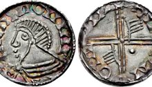 An Hiberno-Norse silver penny, Phase III, Class A (Plain bust), Type 1e (two hands + one large pellet on reverse). The Old Currency Exchange, Dublin, Ireland.