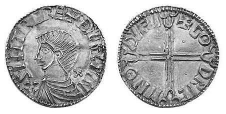 An Hiberno-Norse Phase II Long Cross Penny, Sihtric of Dublin, with Dublin mint signature of Godric (Moneyer of Dublin). The Old Currency Exchange, Dublin, Ireland.