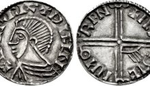 Hiberno-Norse Phase III, Class A, Plain bust, Type 2 (Long Cross, with one hand symbol) Echmarcach mac Ragnaill. The Old Currency Exchange, Dublin, Ireland.