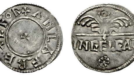 Hiberno-Norse Viking Coinage, Anlaf Guthrithsson (939-941 AD) AR Penny Flower type. York mint. Ingelgar, moneyer. The Old Currency Exchange, Dublin, Ireland.