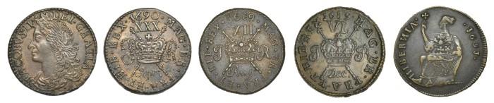 James II Gunmoney & Limerick Halfpenny. The Old Currency Exchange, Dublin, Ireland.