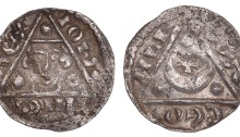 John (as King, 1199-1216), REX Coinage, Silver Halfpenny, Limerick mint signature, Moneyer: Wace. The Old Currency Exchange, Dublin, Ireland.