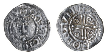 John (as Lord of Ireland), Third coinage, Halfpenny, Downpatrick, Tomas, CAPVT IOHANNIS, rev. THOMAS ON DVN. Extremely rare. The Old Currency Exchange, Dublin, Ireland.