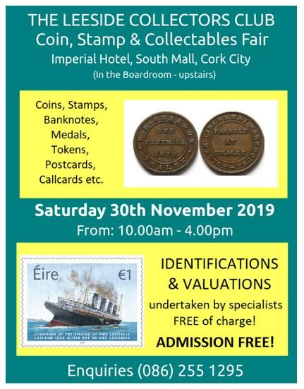 Leeside Coin & Stamp Fair, Imperial Hotel, Cork
