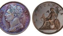 1822 Ireland-Ionian Islands 2 oboli mule, obv. Irish bust of George IV, rev. britannia. 35mm, 18.9g, mintage 3