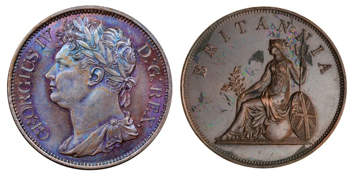 1822 Ireland-Ionian Islands 2 oboli mule, obv. Irish bust of George IV, rev. britannia. 35mm, 18.9g, mintage 3