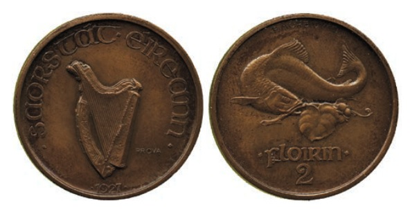 Morbiducci's Irish pattern (proof), Florin in Bronze