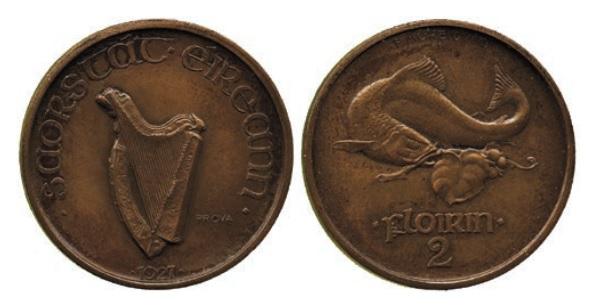 Morbiducci's Irish pattern (proof), Florin in Bronze