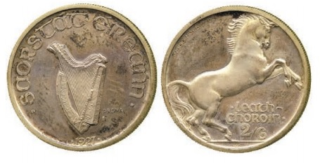 Morbiducci's Irish pattern (proof), Halfcrown in Silver.