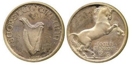 Morbiducci's Irish pattern (proof), Halfcrown in Silver.
