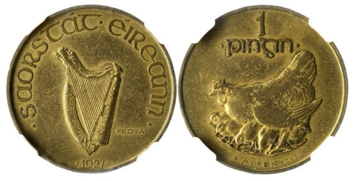 1927 Morbiducci's Irish pattern, penny (Copper-Aluminium)