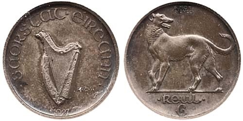 Morbiducci's Irish pattern (proof), Sixpence in Silver