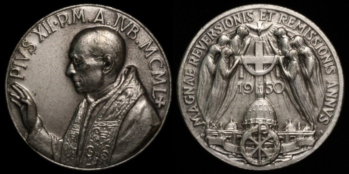 1950 Vatican - Pope Pius XII - Jubilee Year of Remission by Publio Morbiducci and the Lorioli Fratelli mint