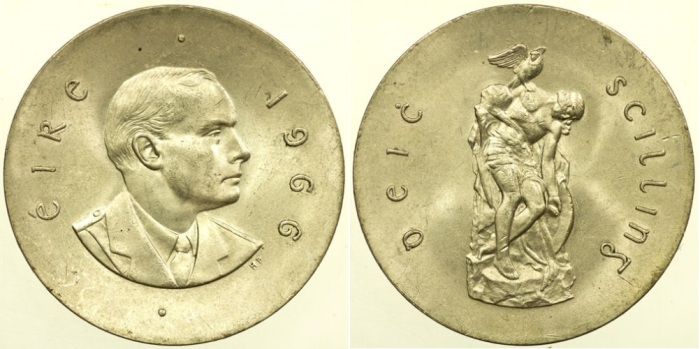 Sheppard's iconic statue of the 'Dying Cuchulainn' features on the reverse of Ireland's 1966 commemorative ten shilling coin.