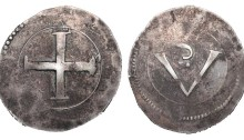 Confederate Catholics crown. 23.34 g. 44 mm. (Rebel Money). Large cross, large V, small S above; large pellet below the S.