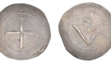 Confederate Catholics crown. 24.57 g. (Rebel Money). Large cross (thin), large V, small S above. S 6558, DF 313, KM 66