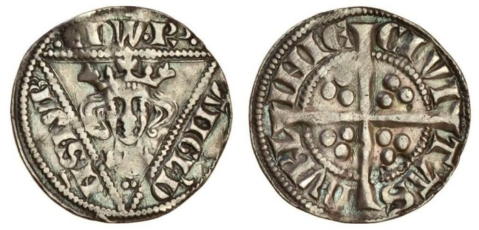 Edward I (1272-1307), Penny, 1.41g, Dublin, type Ib, pellet before Edward, facing bust in triangle, rev. civi tas dubl inie, long cross pattée, three pellets in each angle (S.6247; Stewartby p.182 Ib). The Old Currency Exchange, Dublin, Ireland.