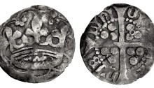 Edward IV. First reign, Anonymous 'Crown' coinage. Penny (16mm, 0.54 g). Dublin mint, c. 1460-1463. Crown within tressure of nine arches. The Old Currency Exchange, Dublin, Ireland.