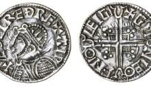 Hiberno-Norse Phase 1, Class C – Helmet Type) Silver Penny 1.16g Aethelred II + æÐelræÐ rex aip, Chester, Gunleof + gm nleo fn°o leigi. The Old Currency Exchange, Dublin, Ireland.