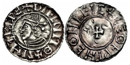 Hiberno-Norse Phase 1, Class D (Small Cross type). +SIHTRC RE+ DУFLND MΘ. Chester mint, Moneyer Leofwine +LEΘFPINE ΘN LEIC