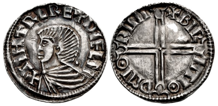 Hiberno-Norse, Phase I, Class B Sihtric III Olafsson. Silver Penny (20mm, 1.35 g, 12h). Long Cross type. Winchester mint signature; 'Birhtioth,' moneyer. + SIHTRC RE + DУFLN, draped bust right; pellet behind / + BIR HTIΘ Đ MIΘ RINI, voided long cross, with triple crescent ends.