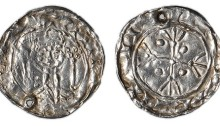 Hiberno-Norse, Phase V, c.1065-1095, Penny, 0.84g, group F/o, crowned facing bust, sceptre either side, deriving from Two Sceptres type of William I, rev. cross fleury, pellets in angles, legends blundered ((cf. SCBI Ulster 347 (=Roth 206) and SCBI Copenhagen 281; Lindsay, Supp. p.1 3, 57: S.6170), pierced at seven o´clock, obverse double struck, reverse very fine, extremely rare