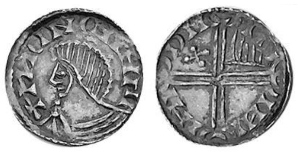 Hiberno-Norse Silver Penny, Phase IV (Scratched Die), Type 3 – Bust left. Long Cross, with quatrefoil and hand symbol. The Old Currency Exchange, Dublin, Ireland.