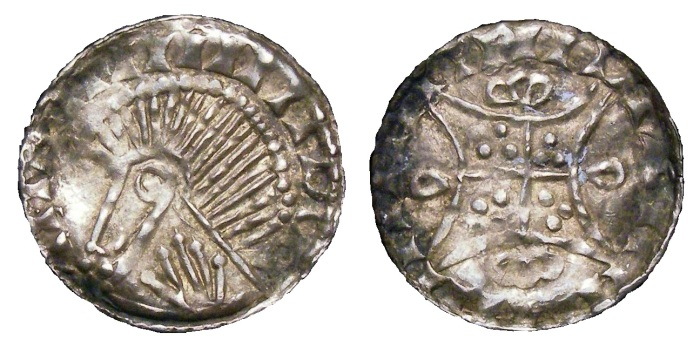 Hiberno-Norse, Silver Penny Phase V, Obverse Bust left with hand on Neck, Reverse similar to William I Two Stars type S.6156 Extremely rare