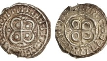"Hiberno-Norse. AR Bracteate, ca. 1110-1150. Cross over quatrefoil, pellet in each angle, ""legend"" of ""I's"" around. S.6202G. Small edge chip from contemporary mount breaking off. Very Fine and Very rare."