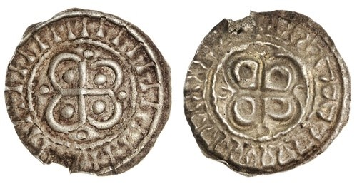 """Hiberno-Norse. AR Bracteate, ca. 1110-1150. Cross over quatrefoil, pellet in each angle, """"legend"""" of """"I's"""" around. S.6202G. Small edge chip from contemporary mount breaking off. Very Fine and Very rare."""